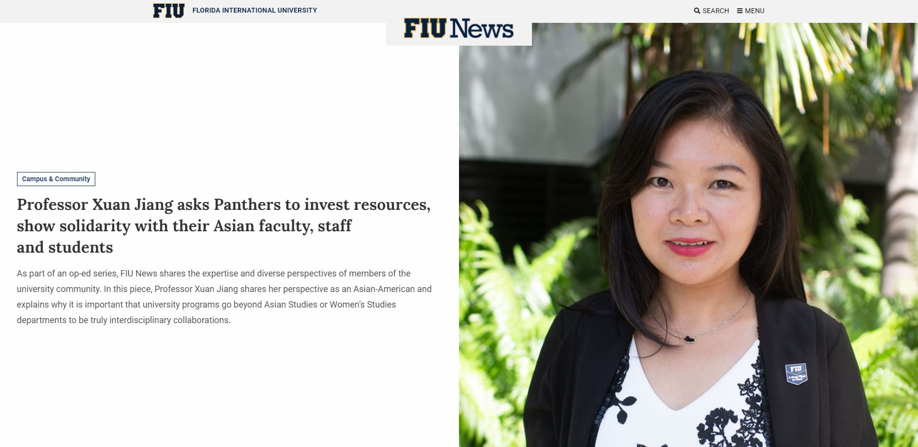 Professor Xuan Jiang asks Panthers to invest resources, show solidarity with their Asian faculty, staff and students